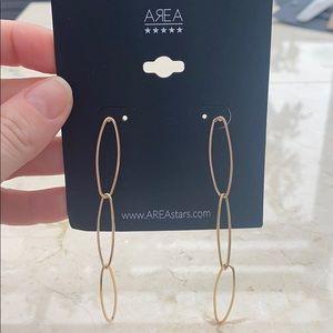 AREA Clips Gold Trendy Long Earrings